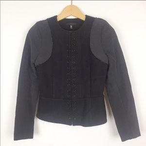 JOE'S Cool Wool Jean Grommet Black Peplum Jacket S